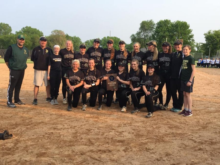After defeating Oshkosh West 5-3 on Thursday, May 30, the Spartan softball team received the Sectional championship plaque.